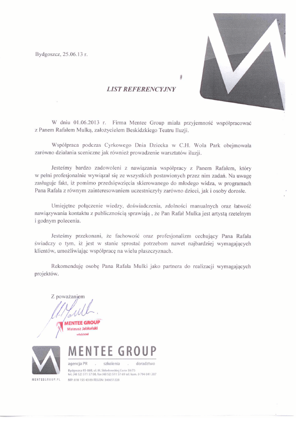 Referencje Mantee Group